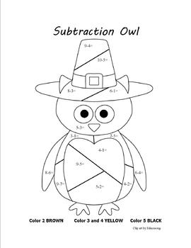 Thanksgiving Subtraction Owl