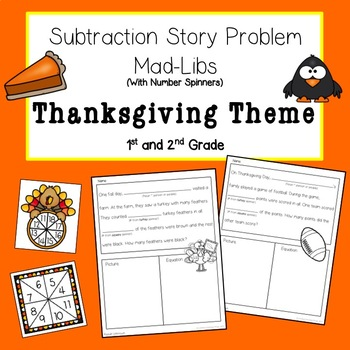 Thanksgiving Subtraction Story Problem Mad-Libs