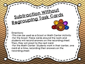 Thanksgiving Subtraction Task Cards
