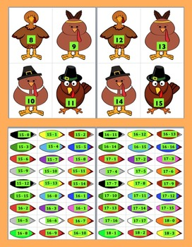 Turkey Subtraction: Turkey Feather Match for Thanksgiving Math - 187 Facts!