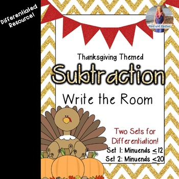 November/Thanksgiving Math: Subtraction Write the Room!