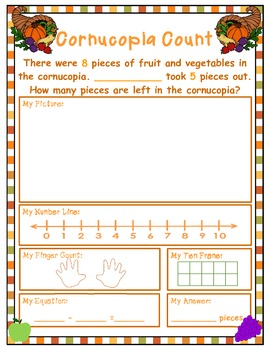 Thanksgiving Subtration Word Problems
