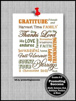 Thanksgiving Poster Religion Education Christian Classroom Decor GRATITUDE