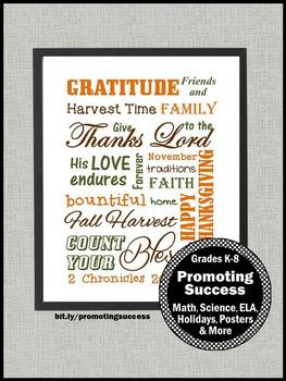 Religious Education, Thanksgiving Poster Gratitude Motivational Quote