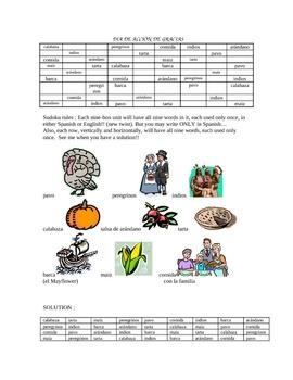 Thanksgiving Sudoku - Spanish