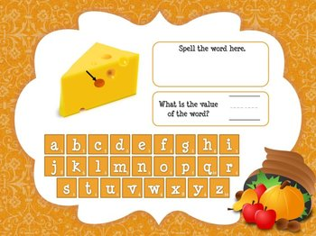 Thanksgiving Super E/CVCe Word Value Game for Smartboard or Promethean Board!