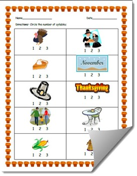 Thanksgiving-Themed Syllable Count Worksheet