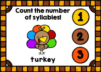 Thanksgiving Syllable Counting Digital Game Boom Cards