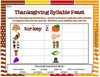 Thanksgiving Syllable Feast FREEBIE!