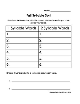 Thanksgiving Syllable Sort (1 & 2 syllable words)