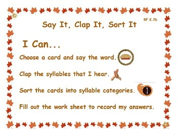 Thanksgiving Syllable Sort: Say It, Clap It, Sort It