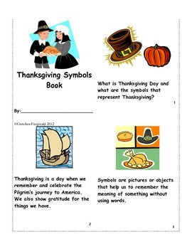Thanksgiving Symbols Mini Reader, Vocabulary Cards, Foldable & Puzzle Activity