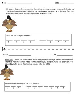 Thanksgiving Synonym and Antonym Riddles