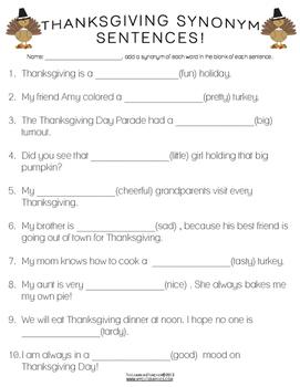 Thanksgiving Synonym Sentences