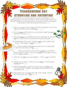 Thanksgiving Synonym and Antonym Practice + Reading Comprehension!