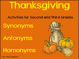 Second / Third Grade Thanksgiving Synonyms, Antonyms and Homonyms