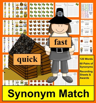 Thanksgiving Literacy Centers- Synonyms Activities - 4 Ways to Play