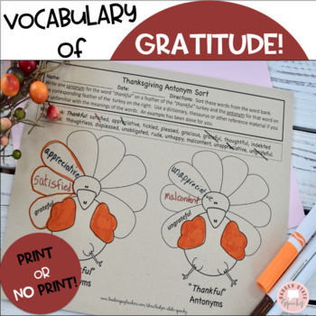 Thanksgiving Synonyms and Antonyms!
