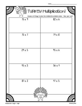 Thanksgiving TURKEY Multiplication Practice Worksheet Pack!