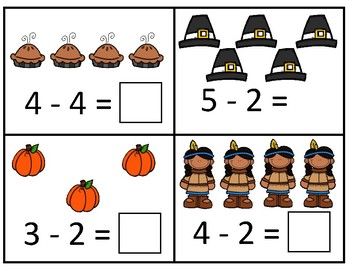Thanksgiving -  Take away from 5 or less Subtraction Dry Erase Cards