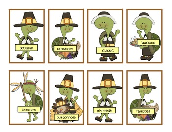Thanksgiving Talking Turtles! Compound Word Practice!