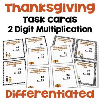 Thanksgiving Task Cards - 2 Digit by 2 Digit Multiplicatio