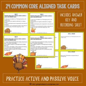 Active and Passive Voice Task Cards: Thanksgiving Theme