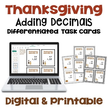 Thanksgiving Math Task Cards - Adding Decimals (Differentiated with 3 Levels)