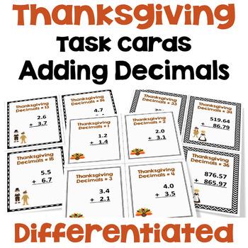 Thanksgiving Task Cards - Adding Decimals (3 Levels)