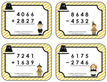 Thanksgiving Task Cards - Addition & Subtraction with Regrouping