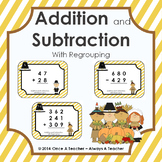 Task Cards • Addition & Subtraction with Regrouping • Thanksgiving