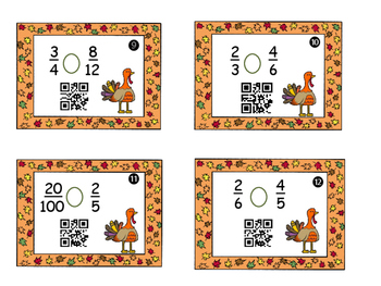 Thanksgiving Task Cards Comparing Fractions