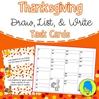 Thanksgiving Task Cards-Draw, List, Write