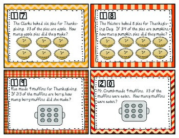 Thanksgiving Task Cards Equivalent Fractions 4.NF.1