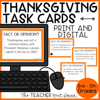 Thanksgiving Task Cards Fact or Opinion for 3rd - 5th Grade