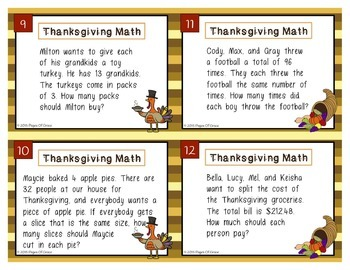 Thanksgiving Math Task Cards-Real Life Word Problems