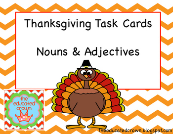 Thanksgiving Task Cards: Nouns and Adjectives