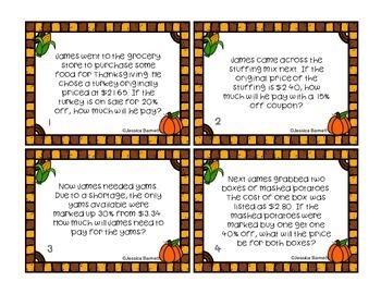 Thanksgiving Math Activity Task Cards