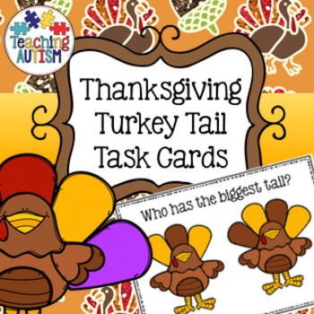 Thanksgiving Task Cards, Turkey Tail, Sizes, Colours, Colors
