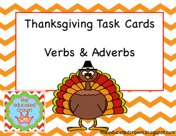 Thanksgiving Task Cards: Verbs and Adverbs