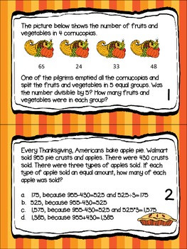 Thanksgiving Task Cards- mixed operation and multiple step