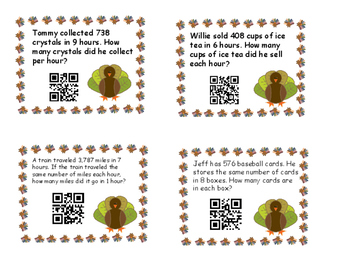 Thanksgiving Task Cards with Division Word Problems and QR Codes