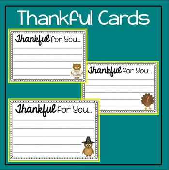 Thanksgiving Creative Writing: Teacher Appreciation Cards