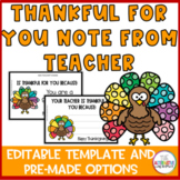 Thanksgiving  Teacher Note: I am thankful for you because