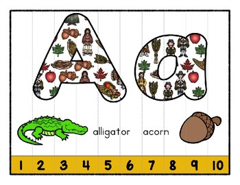 Thanksgiving ~ Teaching by the Letter Holiday Strip Number Puzzles