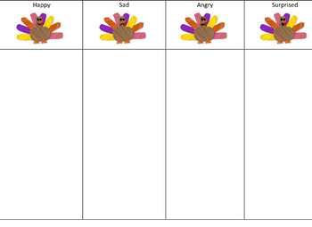 Thanksgiving Ted the Turkey Emotions Inferencing Cut and Paste