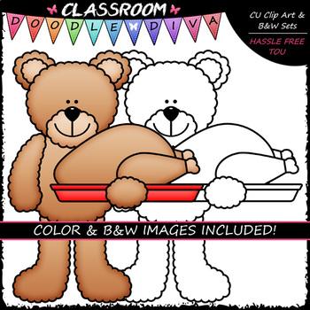 Thanksgiving Teddy Bears - Clip Art & B&W Set