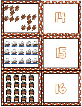 Thanksgiving Teen Number Matching Cards