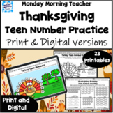 Thanksgiving Teen Number practice printables and digital d