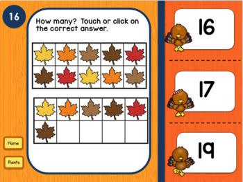 Thanksgiving Teen Numbers Tens Blocks and Ten Frames PowerPoint